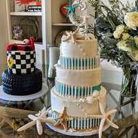 Beach #weddingcake & race car themed grooms #cake.  #navarrebeach